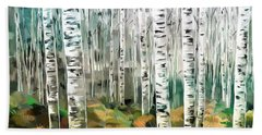 Beach Towel featuring the painting Aspen-green-blue by Tim Gilliland