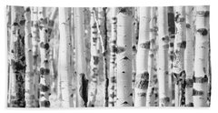 Beach Towel featuring the photograph Aspens In Black And White  by Saija Lehtonen