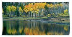Aspens In Fall Color Along Lundy Lake Eastern Sierras California Beach Sheet by Dave Welling