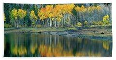 Aspens In Fall Color Along Lundy Lake Eastern Sierras California Beach Sheet