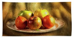 Assorted Fruits In A Plate Beach Towel