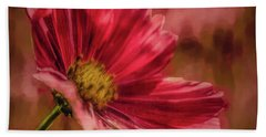 Beach Towel featuring the digital art Aster Red Painterly #h1 by Leif Sohlman
