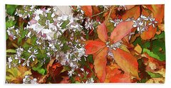 Asters And Creeper Beach Sheet by Betsy Zimmerli