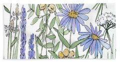 Asters And Wildflowers Beach Sheet
