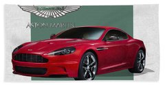 Aston Martin  D B S  V 12  With 3 D Badge  Beach Towel