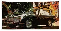 Aston Martin Db4 Gt 1960 On Old Chicago Map Beach Towel