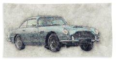 Aston Martin Db5  1- Luxury Grand Tourer - Automotive Art - Car Posters Beach Towel