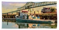 Beach Towel featuring the painting Astoria Waterfront, Scene 1 by Jeff Kolker