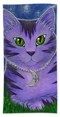 Beach Towel featuring the painting Astra Celestial Moon Cat by Carrie Hawks