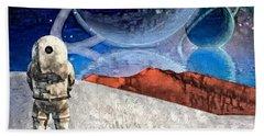 Astronaut On Exosolar Planet Beach Sheet