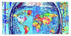 Astronaut World Map 2 Beach Sheet