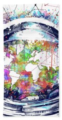 Astronaut World Map 6 Beach Towel