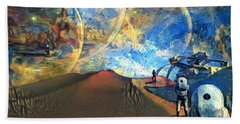 Astronauts On A Red Planet Beach Towel