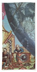 Astronomers Looking Through A Telescope Beach Towel by Andreas Cellarius