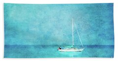 Beach Sheet featuring the mixed media At Anchor by Betty LaRue