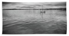 Beach Towel featuring the photograph At Anchor In The Harbor by Rick Berk
