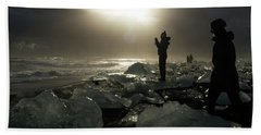 Beach Towel featuring the photograph The Diamond Beach, Jokulsarlon, Iceland by Dubi Roman