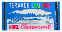 Beach Towel featuring the painting At The Claremont Hotel by Beth Saffer