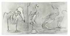 Bird Skeletons Beach Towel