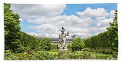 Beach Towel featuring the photograph At The Palais Royal Gardens by Melanie Alexandra Price