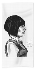 At Your Service - Bartender Art - Charcoal Drawing Illustration By Ai P. Nilson  Beach Towel