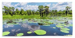Atchaflaya Basin Reflection Pool Beach Towel by Andy Crawford