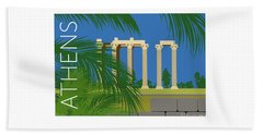 Beach Towel featuring the digital art Athens Temple Of Olympian Zeus - Blue by Sam Brennan