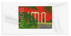 Beach Towel featuring the digital art Athens Temple Of Olympian Zeus - Orange by Sam Brennan