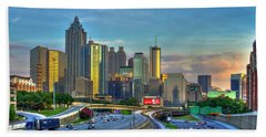 Beach Towel featuring the photograph Atlanta Coca-cola Sunset Reflections Art by Reid Callaway