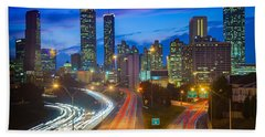 Atlanta Downtown By Night Beach Sheet