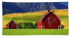 Beach Towel featuring the photograph Atlanta Falcons Barn by Movie Poster Prints