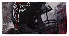 Beach Towel featuring the painting Atlanta Falcons Football Wall Art Falcons Fan Gift by Gray Artus