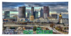 Beach Towel featuring the photograph Atlanta Moving On Skyline Cityscape Art by Reid Callaway