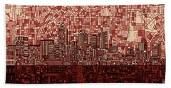 Atlanta Skyline Abstract Deep Red Beach Towel