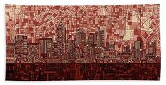 Atlanta Skyline Abstract Deep Red Beach Towel