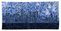 Atlanta Skyline Abstract Navy Blue Beach Sheet