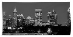Atlanta Skyline At Night Downtown Midtown Black And White Bw Panorama Beach Towel