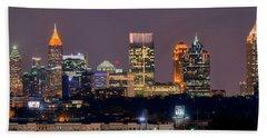 Atlanta Skyline At Night Downtown Midtown Color Panorama Beach Towel