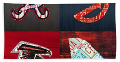 Atlanta Sports Fan Recycled Vintage Georgia License Plate Art Braves Hawks Falcons Plus State Map Beach Towel