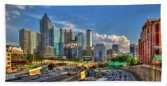 Beach Towel featuring the photograph Atlanta The Capital Of The South Cityscapes Sunset Reflections Art by Reid Callaway