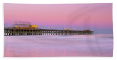 Beach Towel featuring the photograph Atlantic Ocean And The Apache Pier At Sunset In South Carolina by Ranjay Mitra