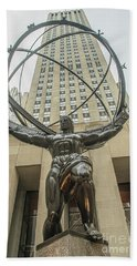 Beach Towel featuring the photograph Atlas Rockefeller Center by Timothy Lowry