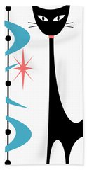 Atomic Cat Turquoise And Pink  Beach Towel