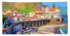 Atrani Italy 01 Beach Sheet by Wally Hampton