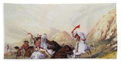 Attacking The Grizzly Bear 1844 Beach Towel
