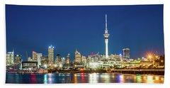 Auckland At Dusk Beach Towel