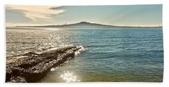 Auckland Harbour On A Winter's Afternoon Beach Sheet