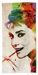 Audrey Hepburn Colorful Portrait Beach Sheet
