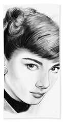 Audrey Hepburn Beach Towel by Greg Joens