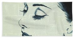 Audrey Hepburn Beach Towel by Monikas Art